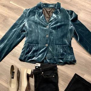 Tahari Teal Silk Blend Velvet Blazer, Size 14